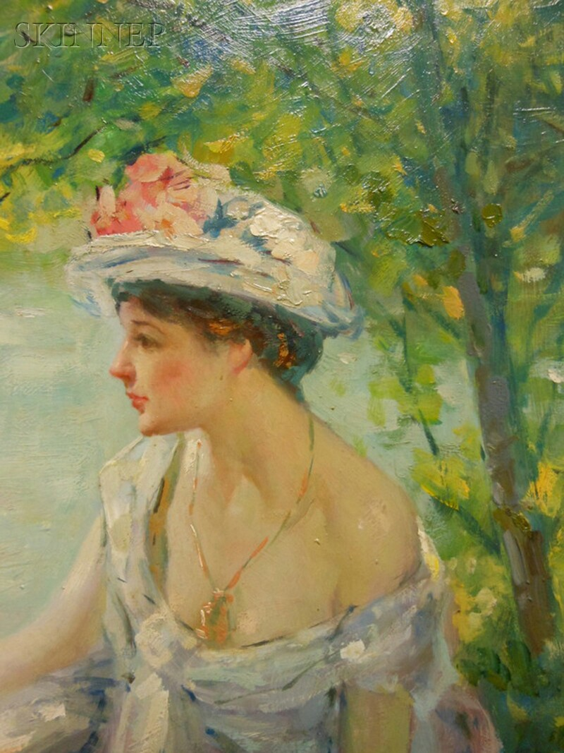 Robert Lewis Reid (American, 1862-1929)      Summer Reverie/Young Woman at Ease on a Riverbank
