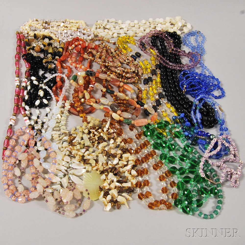 Group of Hardstone and Glass Beaded Necklaces