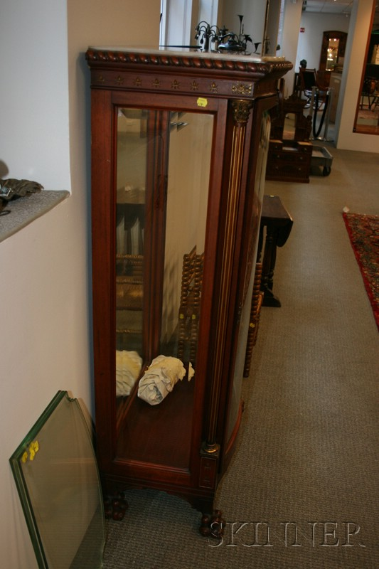 Eastlake Carved Mahogany, Parcel-gilt and Porcelain-mounted Onyx Top Display Cabinet