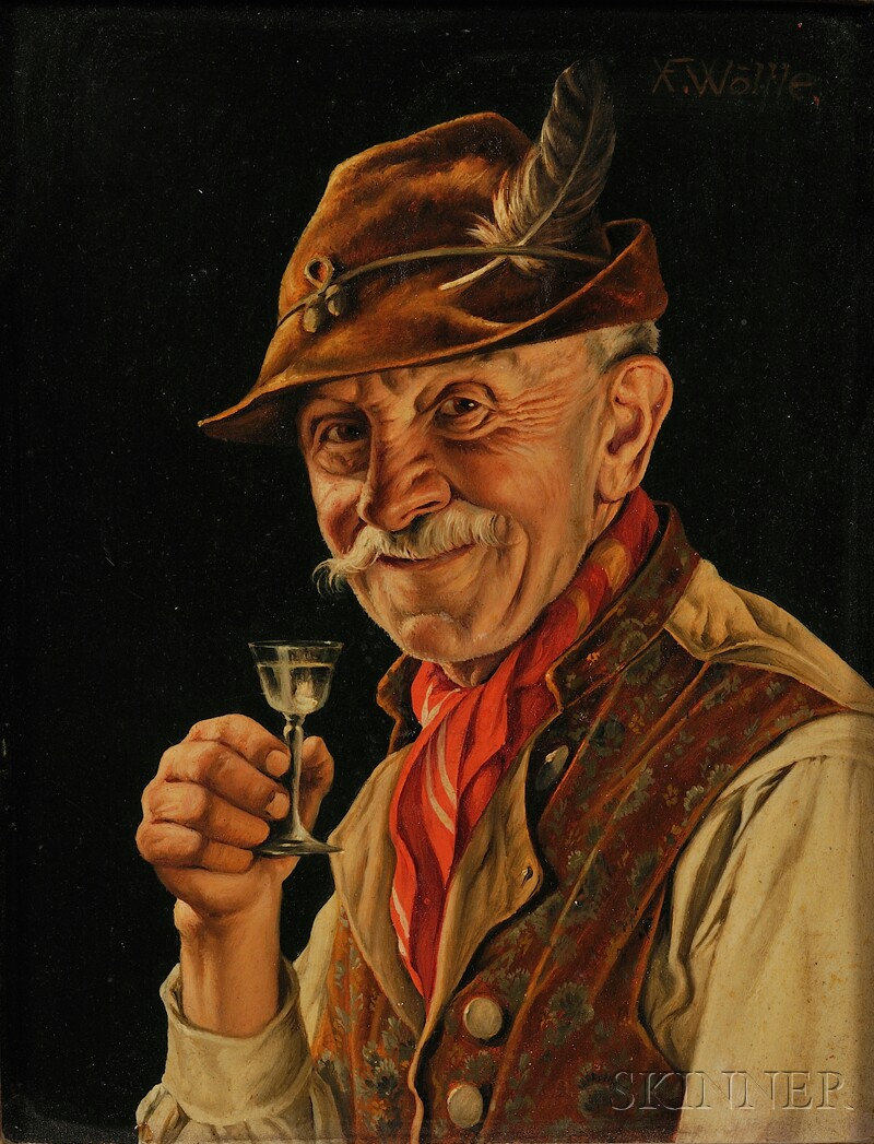 Franz Xavier Wölfle (German, 1887-1972)      Smiling Gent with Liqueur Glass