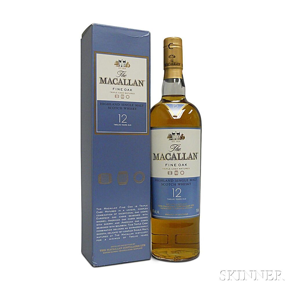Macallan Fine Oak 12 Years Old, 1 750ml bottle (oc)