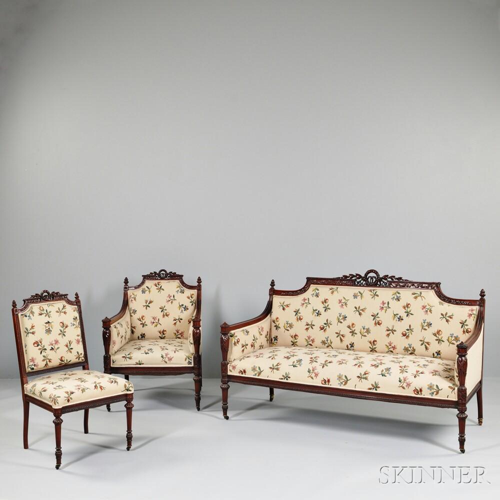 Louis XVI-style Mahogany Seating Suite