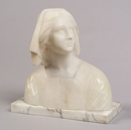 Marble and Alabaster Bust of Joan of Arc