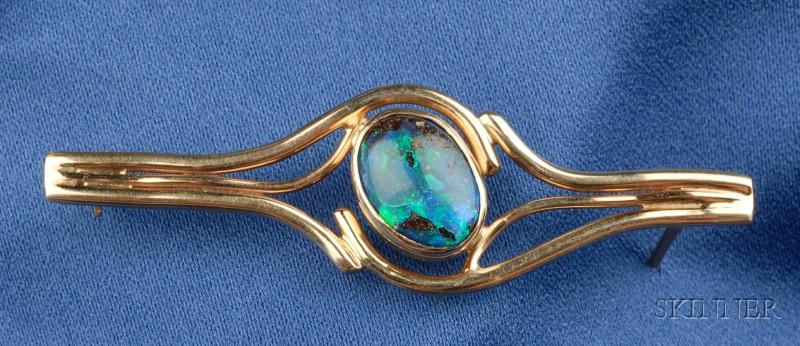 14k Gold and Opal Bar Pin