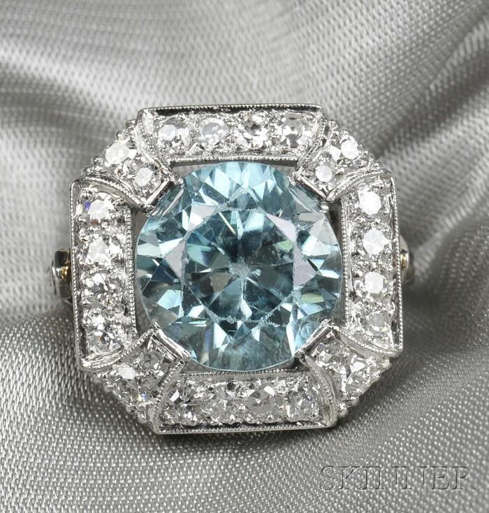 Platinum, Blue Zircon, and Diamond Ring