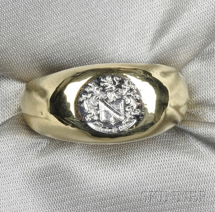 18kt Gold and Platinum Seal Ring