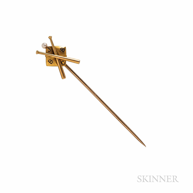 Tiffany & Co. Baseball-theme Gold and Enamel Stickpin