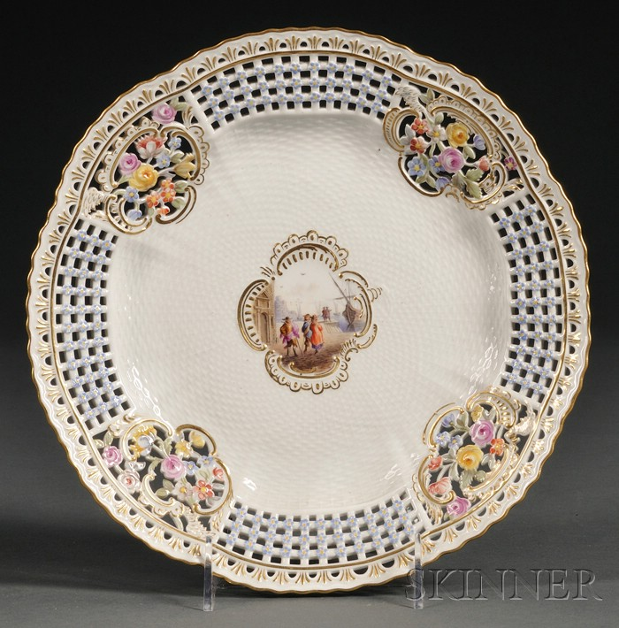 Meissen Porcelain Reticulated Cake Plate