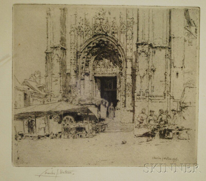 Six Assorted Works:      Charles J. Watson (British, 1846-1927), Portal of Notre Dame