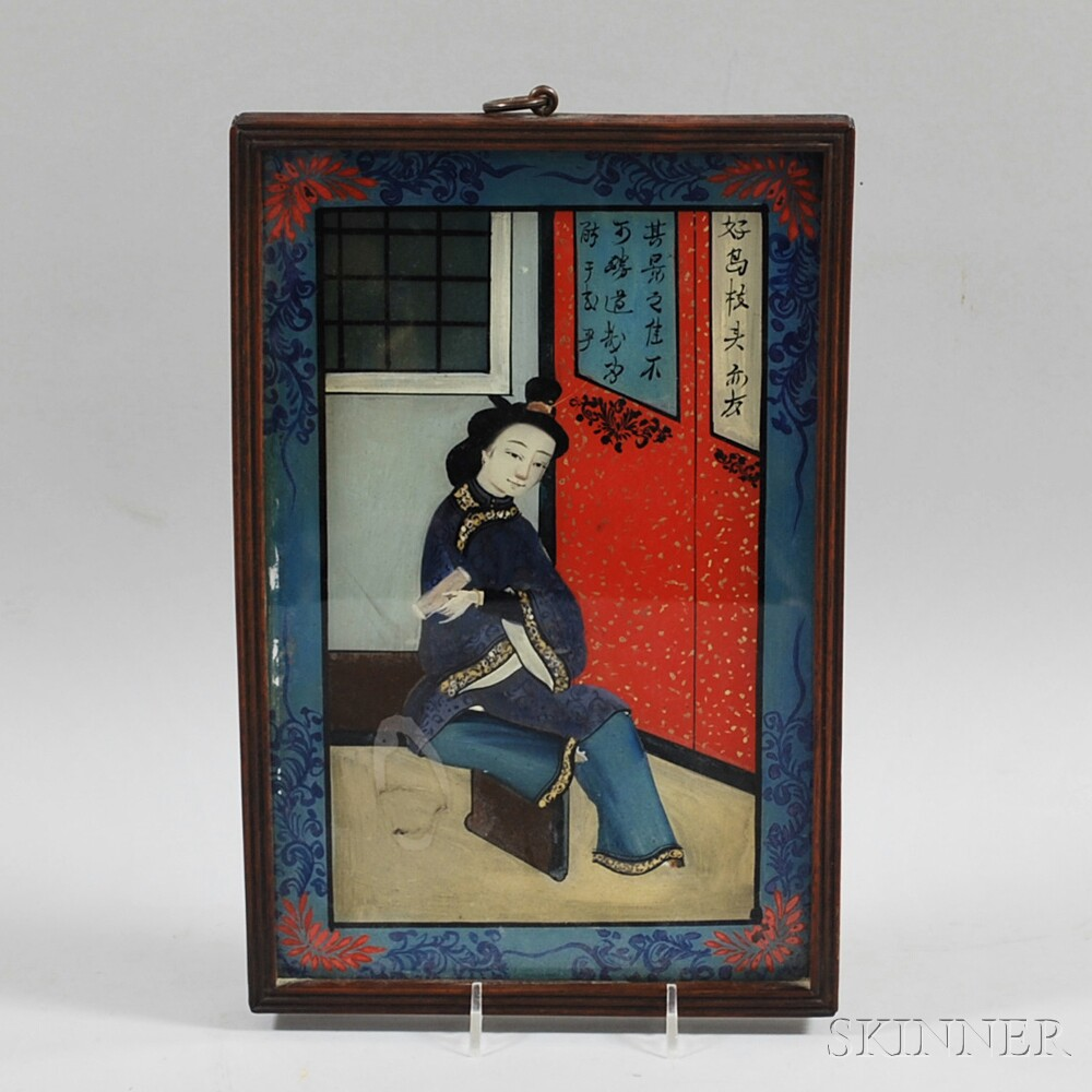 Rosewood-framed Chinese Reverse-painting on Glass of a Woman