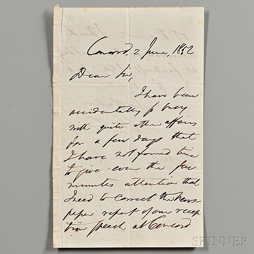 Emerson, Ralph Waldo (1803-1882) Autograph Letter Signed, Concord, 2 June 1852.
