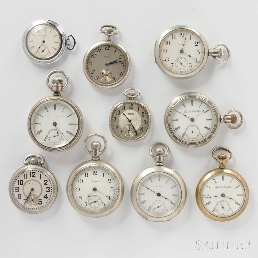 Ten Elgin Open-face Watches