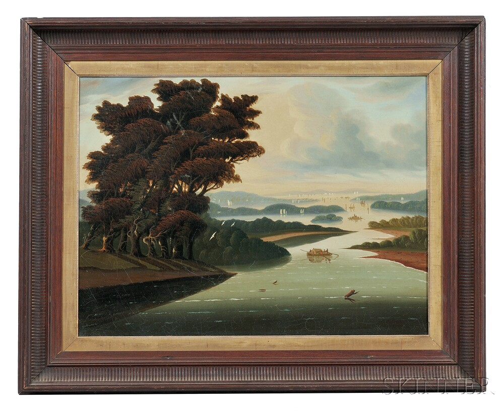 Thomas Chambers (New York/England, 1808-1869)      Expansive Landscape, Probably a Hudson River Valley View