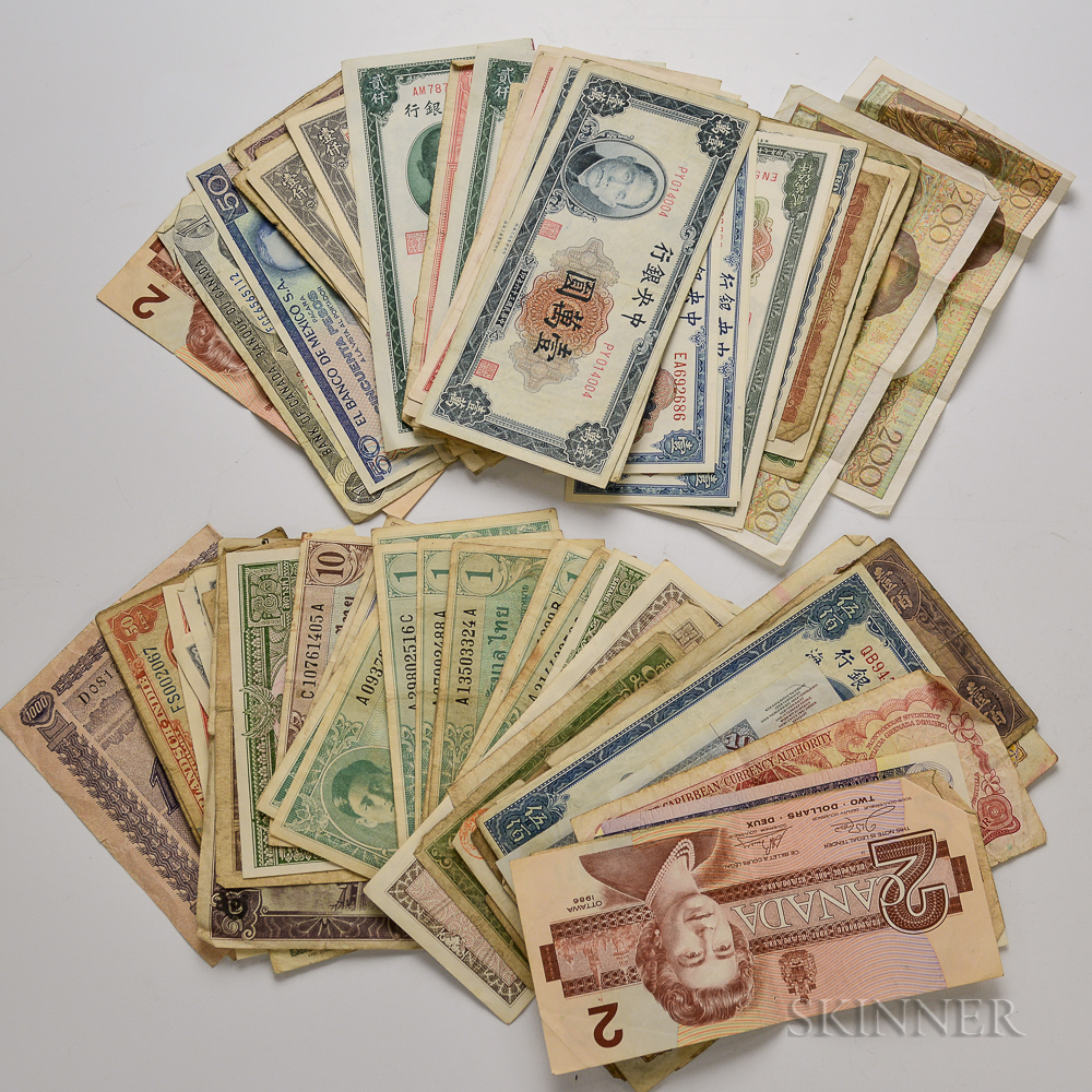 Group of Mostly Chinese and Thai Currency