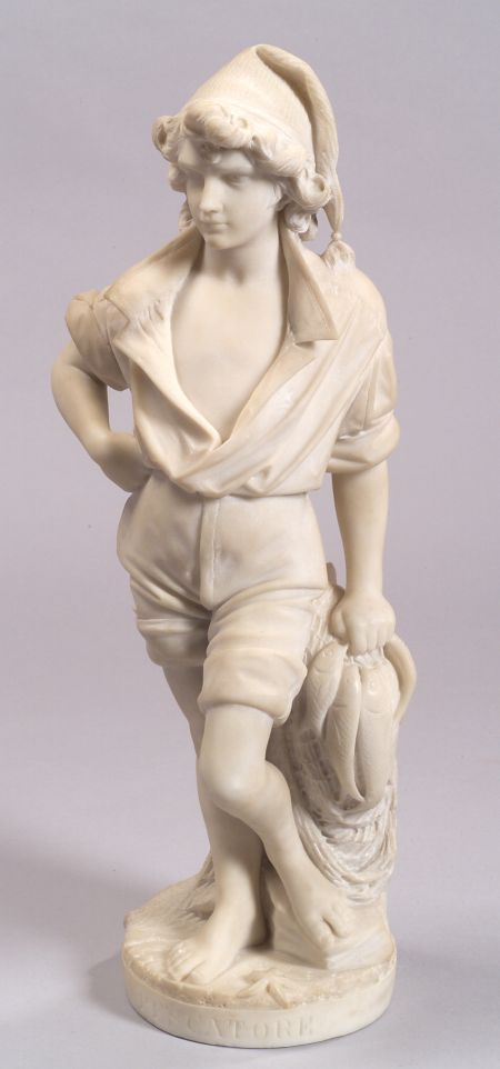 Italian Marble Figure of a Fisherboy, Pescatore