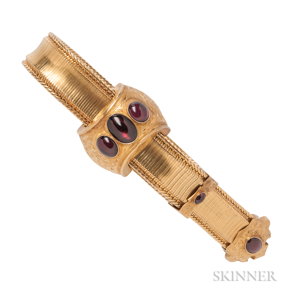 Victorian Gold and Garnet Slide Bracelet