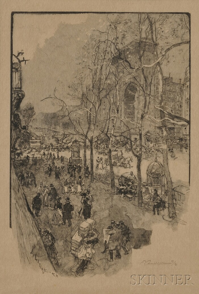 Auguste Lepère (French, 1849-1918)      Les Boulevards près de la Porte St. Denis