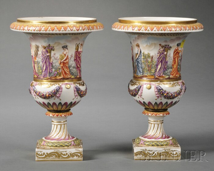 Pair of Capo di Monte Mantel Vases