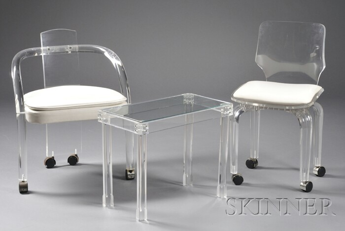 Modern Lucite Armchair, Side Chair, and Table