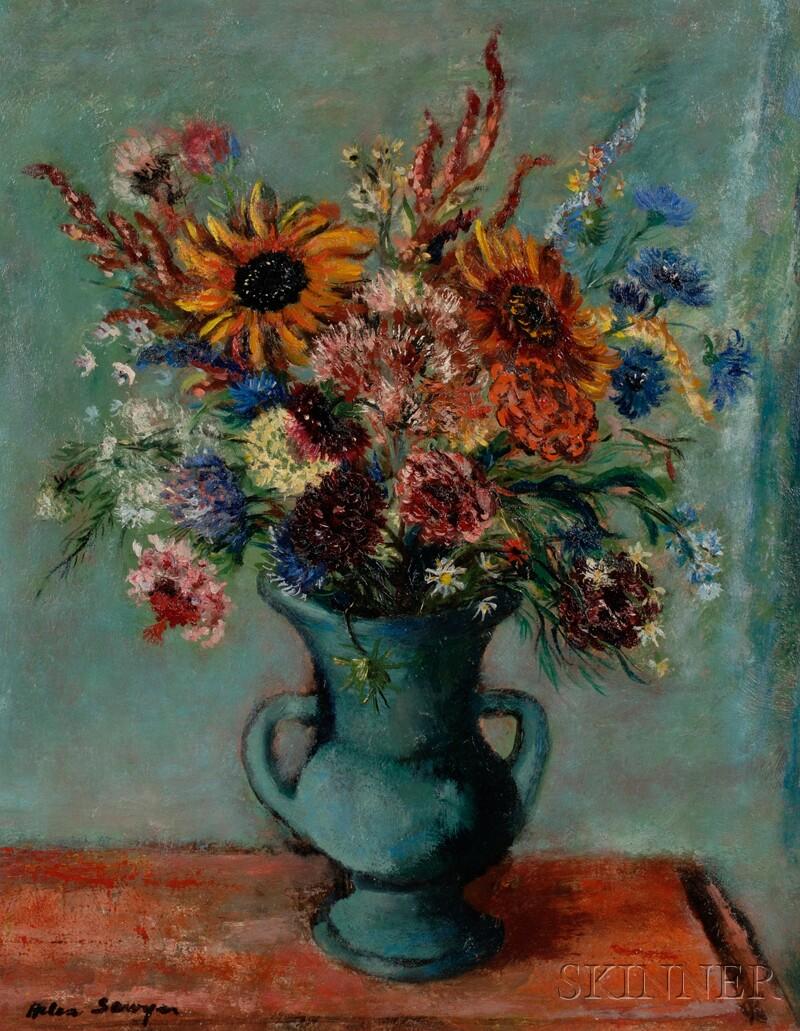 Helen Alton Farnsworth Sawyer (American, 1900-1999)      Bouquet with Sunflowers