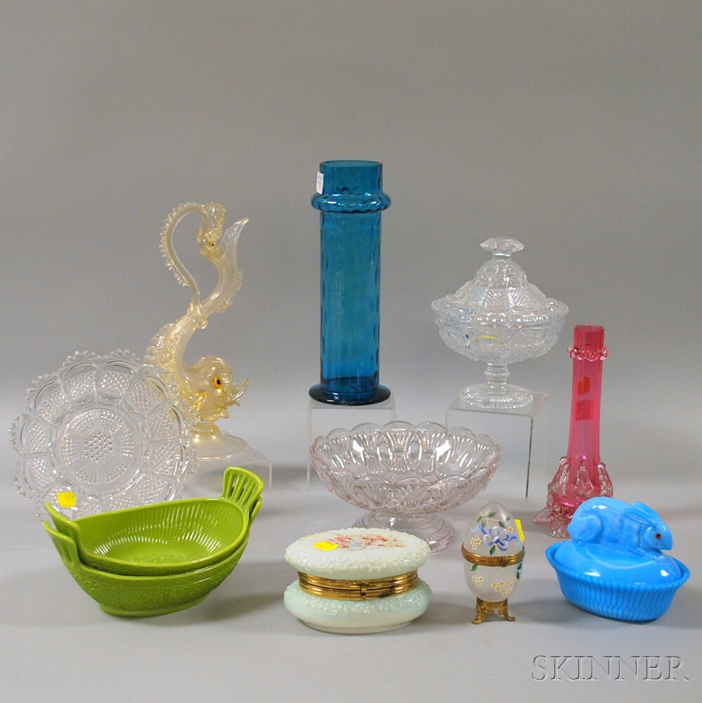 Eleven Assorted Art Glass and Pressed Glass Items