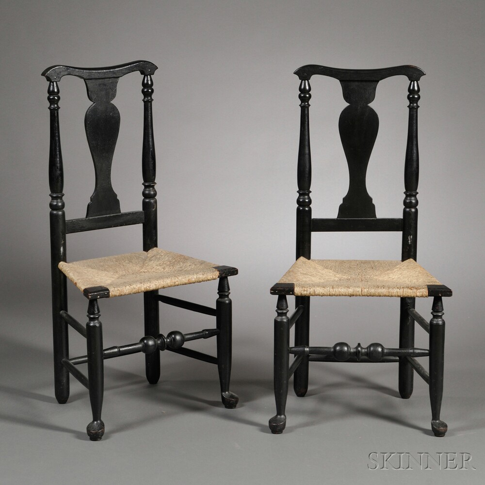 Pair of Black-painted Queen Anne Chairs - Pair Of Black-painted Queen Anne Chairs Sale Number 2667T, Lot