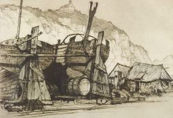 Samuel V. Chamberlain (American, 1895-1975)  Lot of Two Etchings:  Sailors Home From the Sea