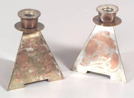 Pair of Benedict Art Studio Silvered Metal and Copper Candlesticks