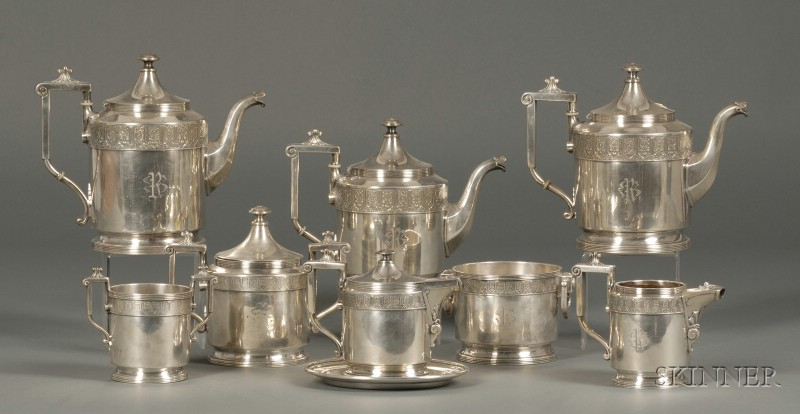 Nine-piece Reed & Barton Victorian Silver Plated Tea and Coffee Service