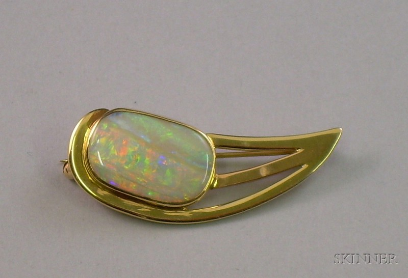 14kt Gold and Opal Brooch