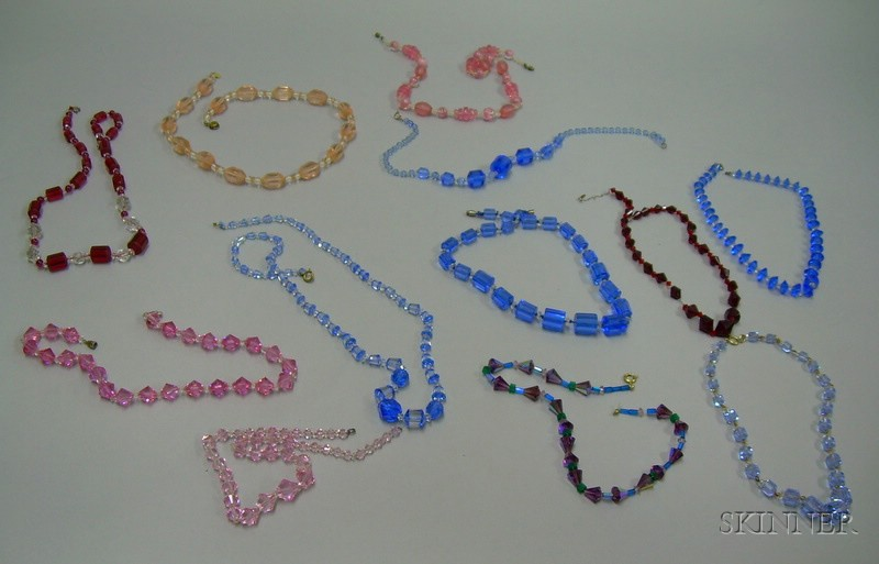 Twelve Faceted Glass and Crystal Bead Necklaces.