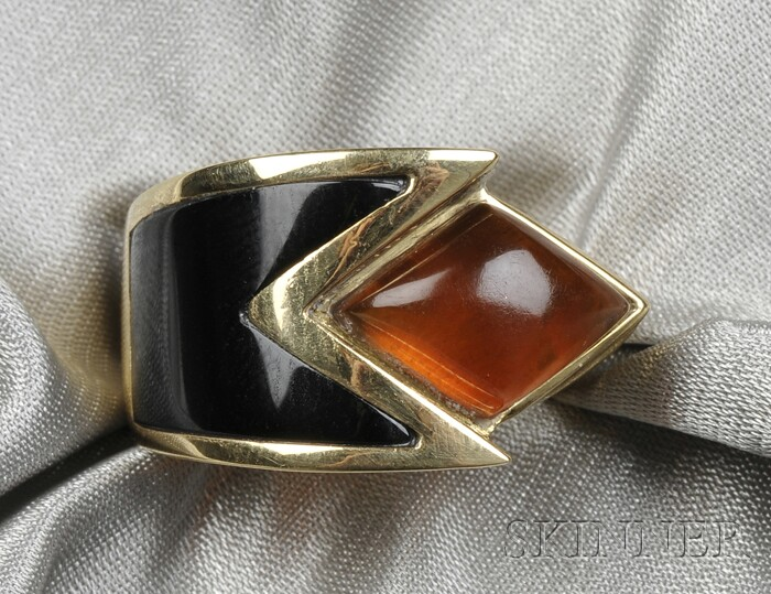 18kt Gold, Citrine, and Onyx Ring