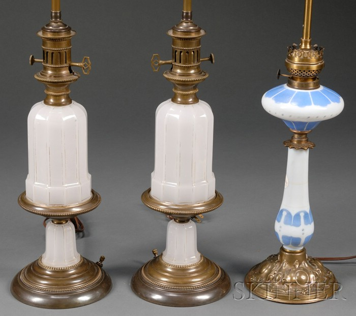 Three Opaline Glass Oil Lamp Bases