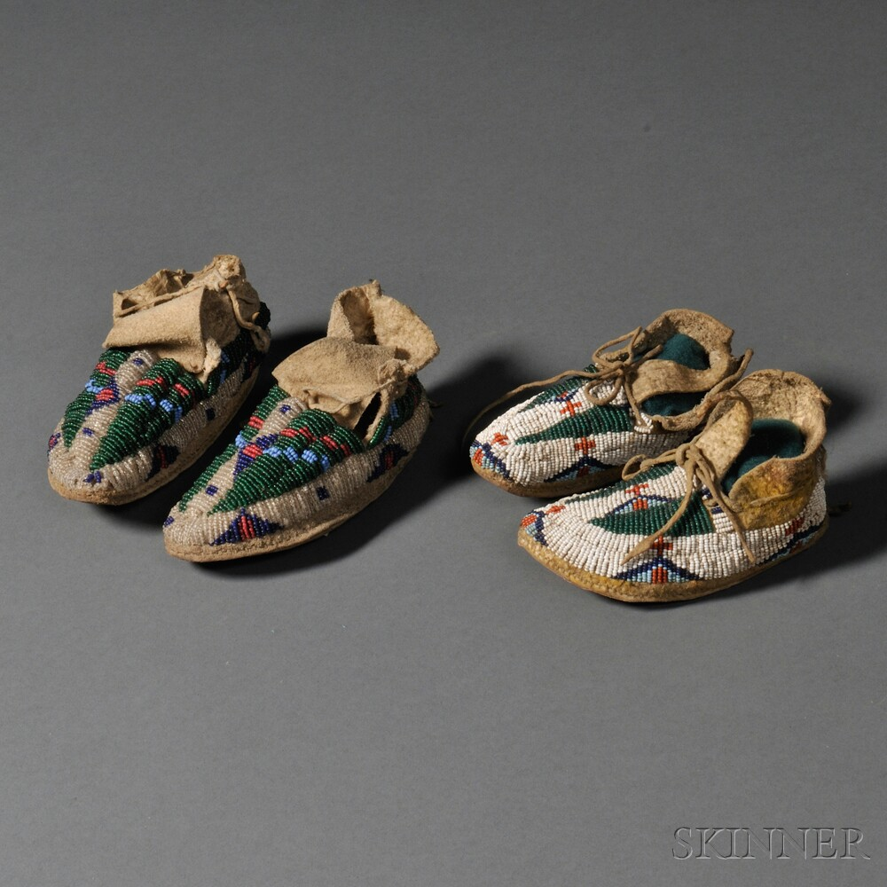 Two Pairs of Plains Beaded Hide Infant's Moccasins