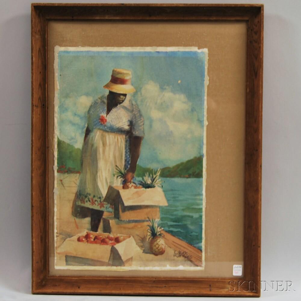 Larry Gluck (American, b. 1931)      The Fruit Seller.