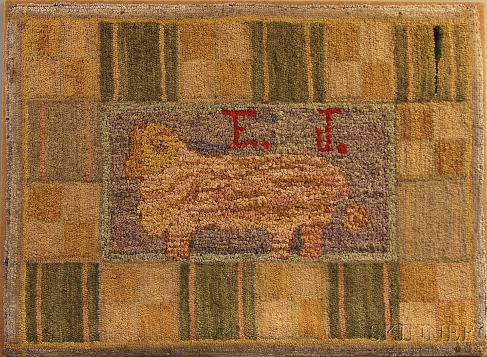 "Mounted Hooked Rug of a Ram with Initials ""E. L. J.,"""