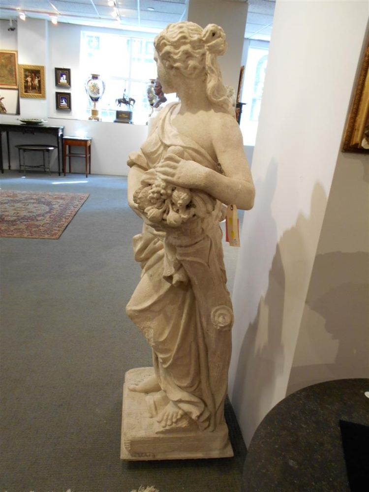 Neoclassical-style Stone Figure of a Woman with a Basket