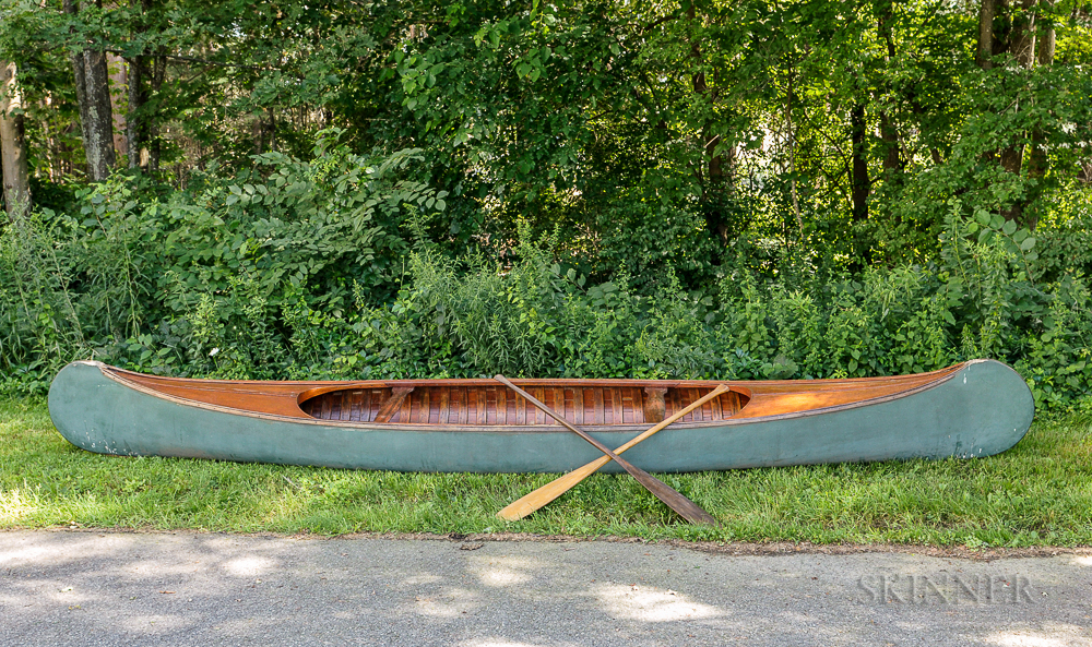 Green-painted Canoe