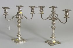 Pair of Silver Plate Convertible Three Light Candelabra, early 20th century,