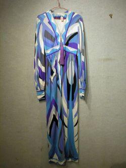 Pucci Silk Long Sleeve Long Dress with Tassel Zipper.