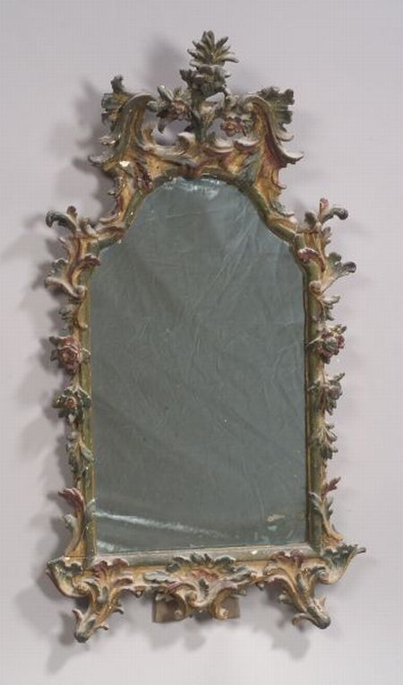 Venetian Wood Gesso Polychrome Decorated Rococo-style Mirror