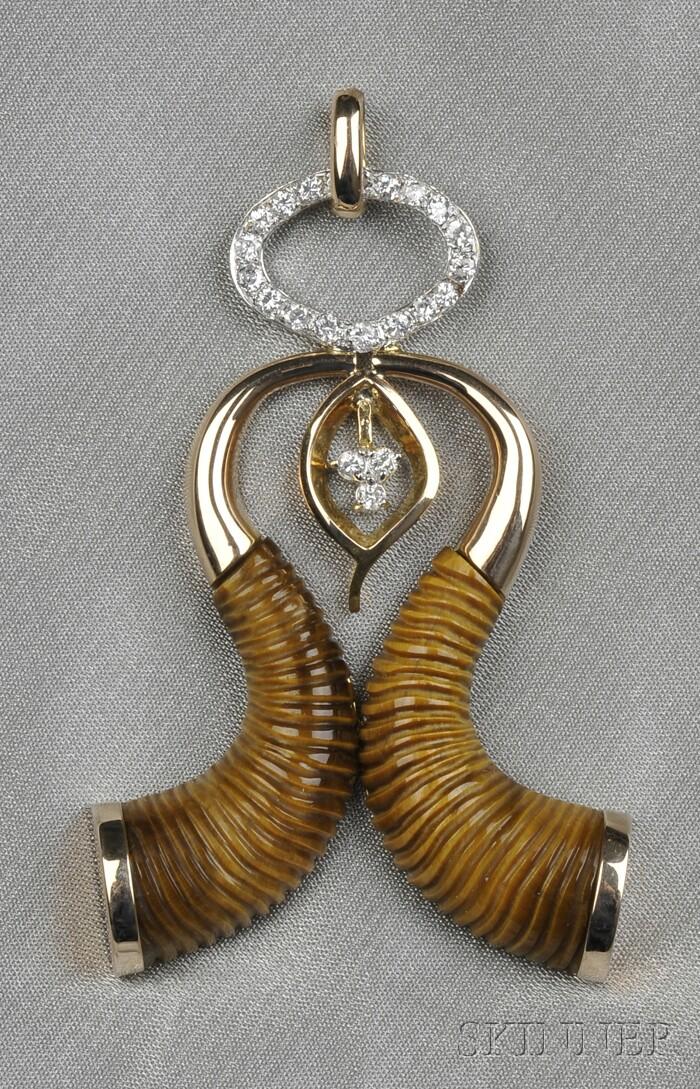 14kt Gold, Tiger's-eye, and Diamond Pendant
