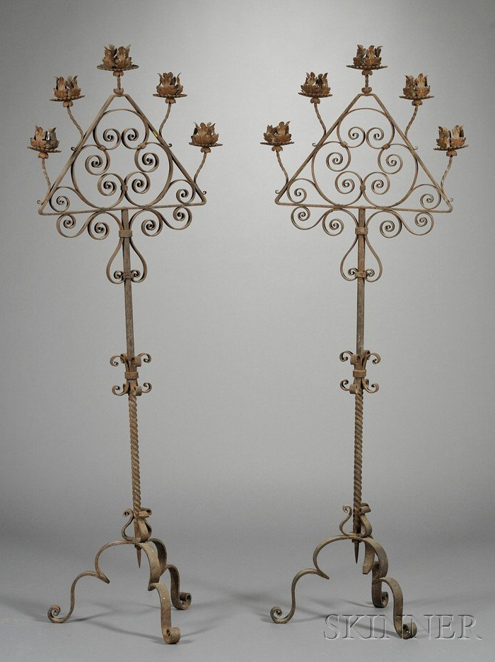 Pair of Spanish Medieval-style Wrought-iron Torchieres
