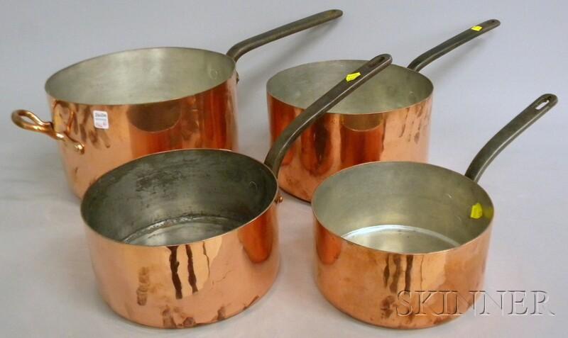 Set of Four Graduated Copper Pots