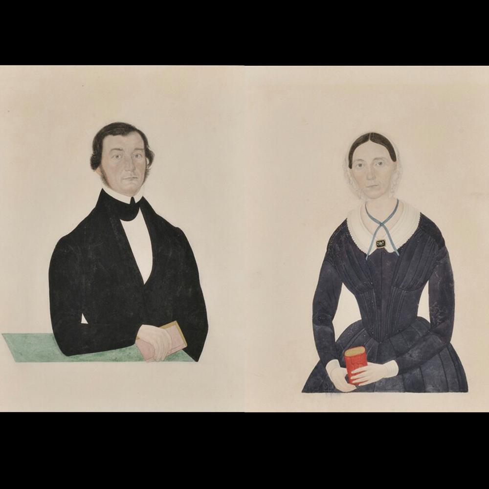 American School, 19th Century      Pair of Portraits of Sarah H. Stevenson and Mr. Stevenson.