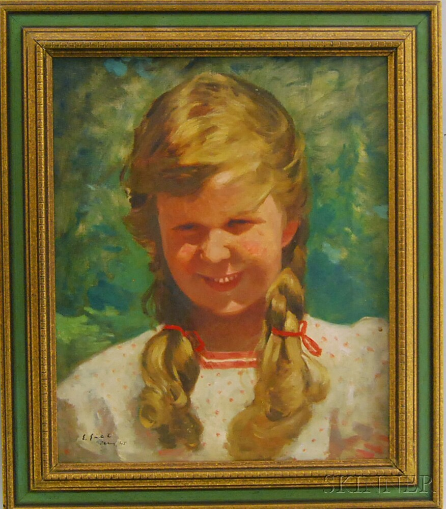 Continental School, 20th Century      Portrait of a Girl with Braids.
