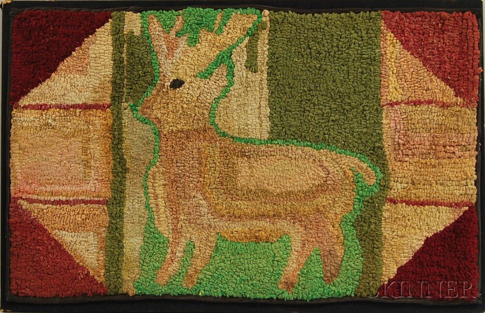 Mounted Hooked Rug of a Deer