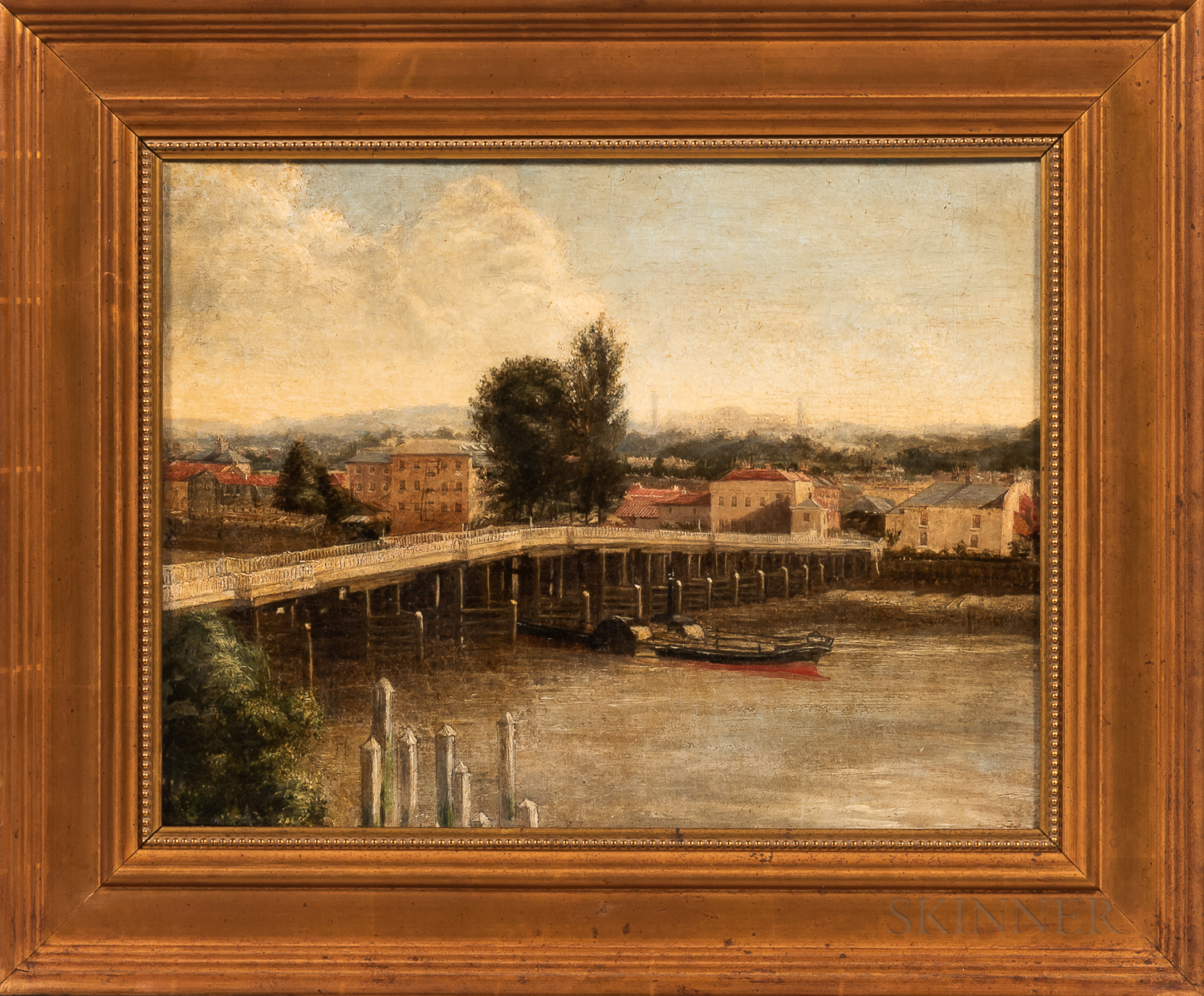 European School, 19th/20th Century      River with Bridge and Town Beyond.