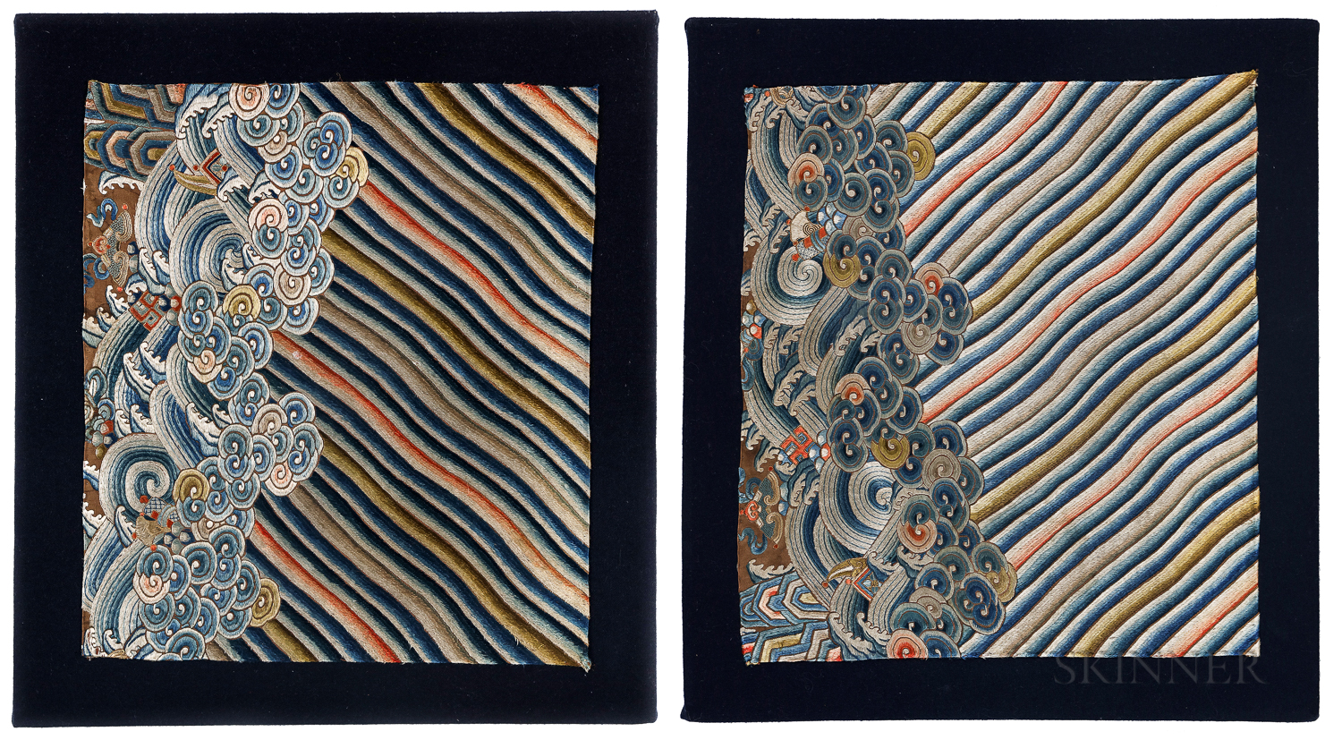 Pair of Chinese Silk Embroidered Fragments