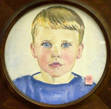 Framed Watercolor Portrait of a Boy